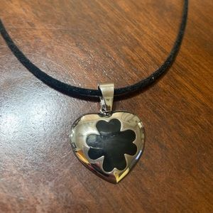Black cord choker with stainless steel heart